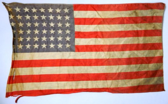 Vintage 48-Star American Flag and Fort Indian Town Gap 'Mother' Silk Pillow Cover