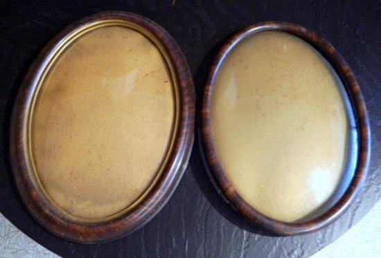 Pair of Wooden Frame Oval Portrait Mirrors