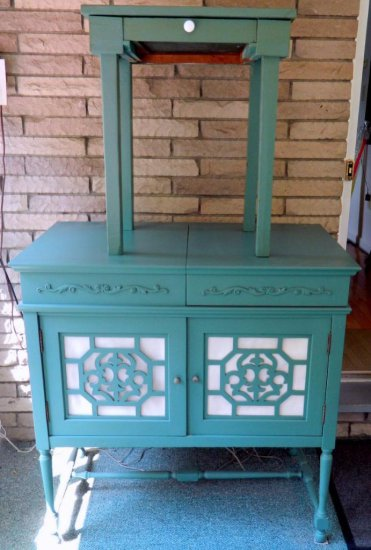 Emerson Refinished Record Cabinet and End Table