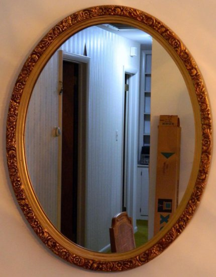 Decorated Frame Oval Wall Mirror