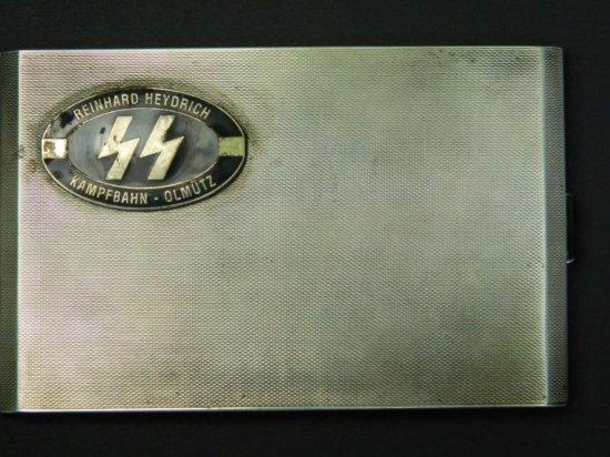 Reinhard Heydrich SS Cigarette Case, Marked 935 Silver