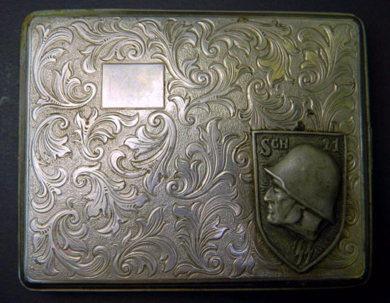 Waffen SS School Cigarette Case with Repousse Pattern Design