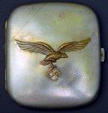 WWII German Luftwaffe Cigarette Case with Swastika Eagle