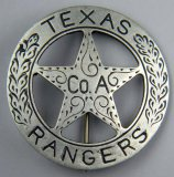 Old West US 'TEXAS RANGERS Co A' Cowboy Era Mexican Peso Law Badge