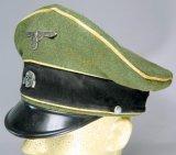 Nazi WWII Waffen SS Calvary Officer Crusher Visor Cap