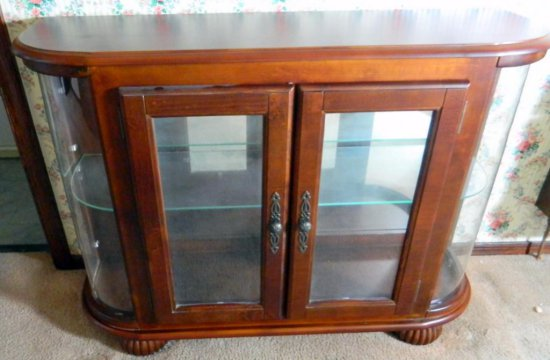 Wood and Glass Hall Table/Display Cabinet