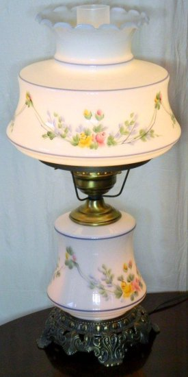 Floral Hurricane Lamp and Oil Lamp