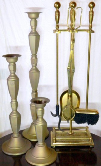 Large Grouping of Decorative Items, Including Brass Fireplace Tools and Scale