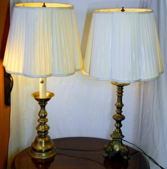 Two (2) Brass Table Lamps with Shades