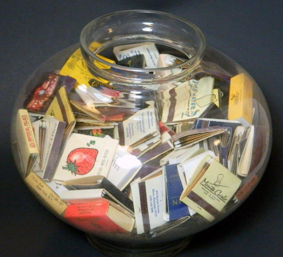 Large Glass Bowl of Advertising Matches, Many from Las Vegas Establishments