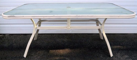 Set of Two Aluminum and Glass Deck / Patio Tables, Matches Chairs