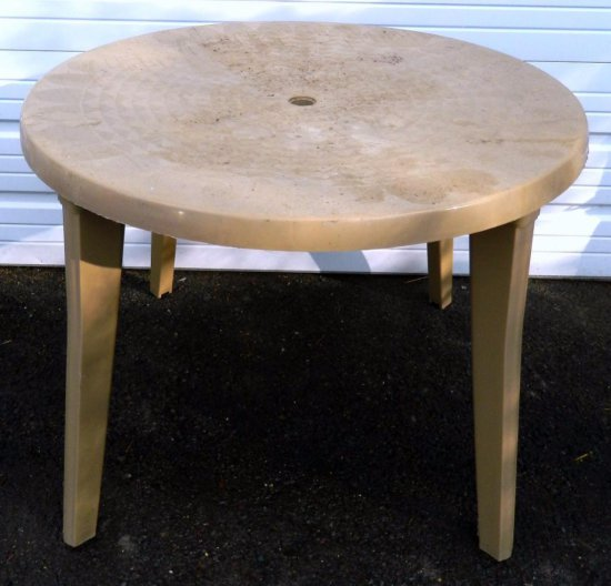 Lot of Six Plastic Round Outdoor Tables