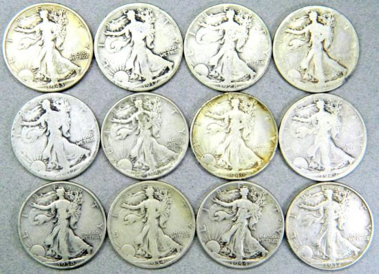 Dozen (12) U.S. Walking Liberty Half Dollar Coins