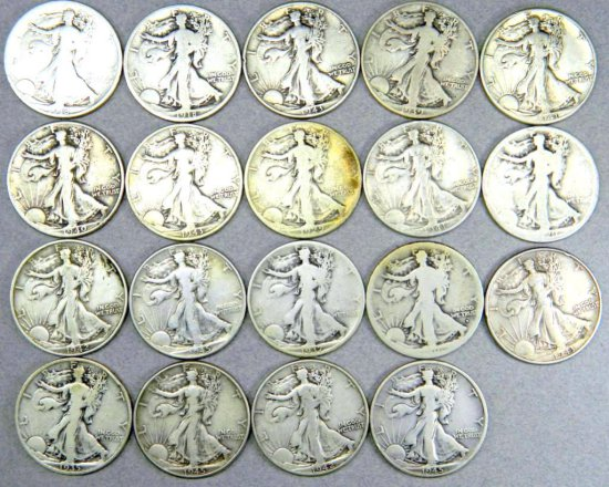 Nineteen (19) U.S. Walking Liberty Half Dollar Coins