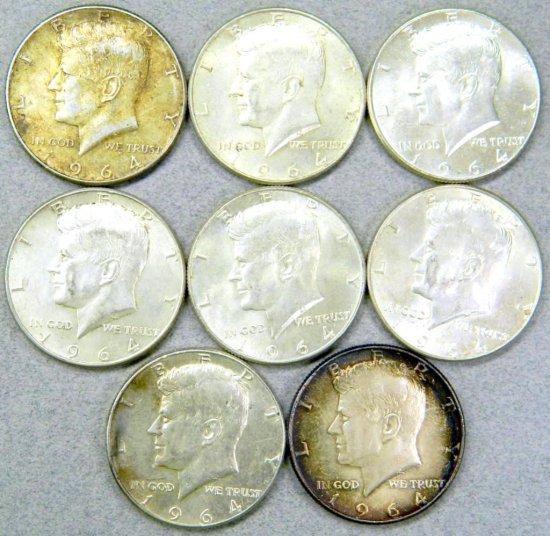 Eight (8) John F. Kennedy 1964 Silver Half Dollar Coins