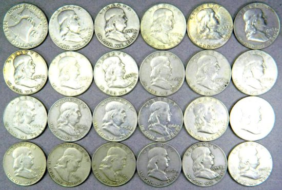Two Dozen (24) Benjamin Franklin Half Dollar Coins