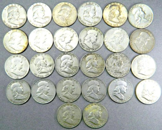 Twenty-six (26) Benjamin Franklin Half Dollar Coins