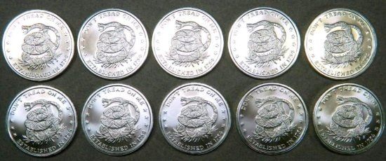 "Ten (10) 1 Troy Ounce .999 Fine Silver Round ""Don't Tread on Me"" Coins"