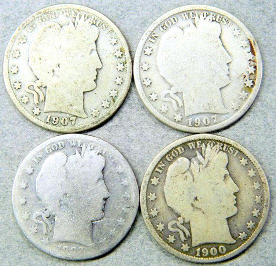 Four (4) U.S. Barber Half Dollar Coins
