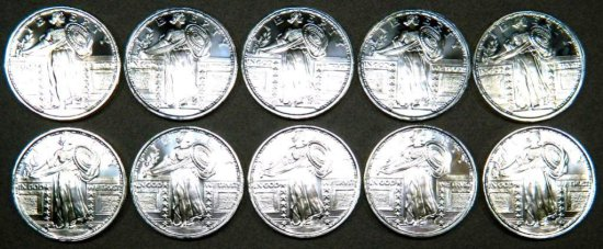 Ten (10) 1 Troy oz .999 Silver Walking Liberty Silver Round Coin