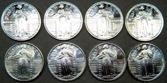 Eight (8) 1 Troy oz .999 Silver Walking Liberty Silver Round Coins