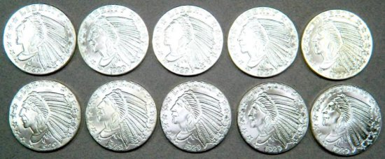 Ten (10) 1 oz. Incuse Indian Silver Round Coin .999 Fine Silver