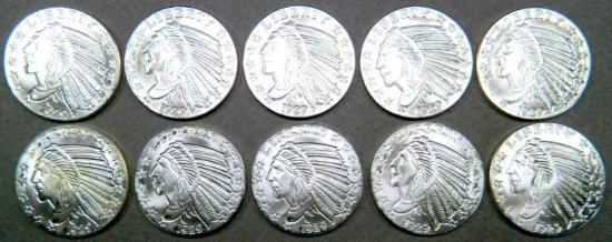 Ten (10) 1 oz. Incuse Indian Silver Round Coin .999 Fine Silver Bullion