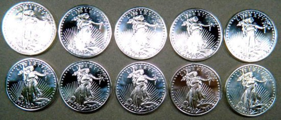 Ten (10) 1 Troy oz .999 Silver Walking Liberty Silver Round Coins, Bullion