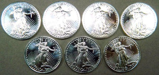 Seven (7) 1 Troy oz .999 Silver Walking Liberty Silver Round Coins, Bullion