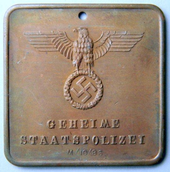 Geheime Staatspolizei Criminal Identification Disc, German WWII