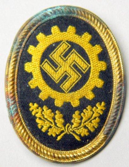 DAF Workers Officers Visor Cap Badge, German World War II