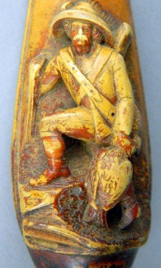 Vintage Carved Meerschaum Hunter Cigarette Holder Cheroot in Case