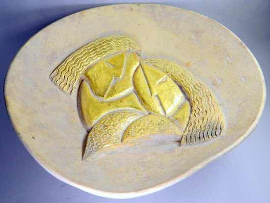Jaru Large Footed Bowl, Two Women, High Relief Design