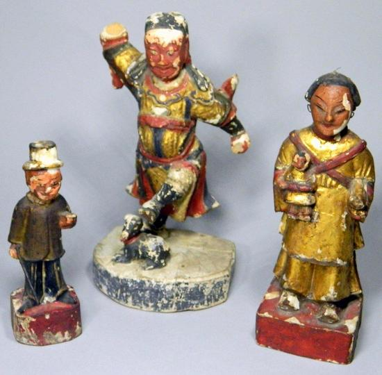 Three Hand-Carved Wooden Asian Antique Figures