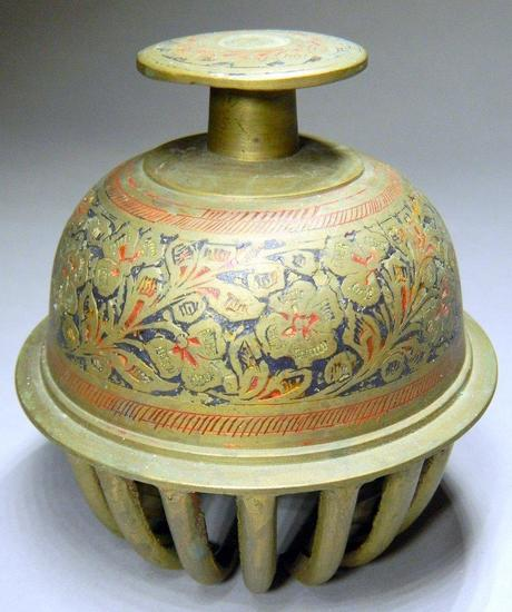 Brass and Enamel Elephant Claw Temple Bell