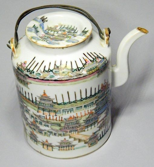 Chinese Porcelain Lidded Teapot with Original Wire Handles
