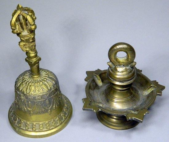 Two Asian Brass Decorative Pieces Including Buddhist Brass Bell
