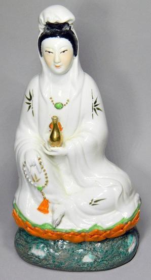 Vintage Quan Yin Chinese Buddha Porcelain Statue
