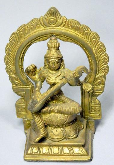 Goddess Saraswati Playing Veena with Floral Aureole