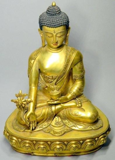 Bronze Gilt Tibetan Sitting Buddha with Headdress and Gold Vase Statue