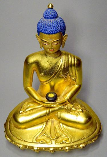 Tibetan Bronze Gilt Sitting Buddha with Blue Hair, Headdress, and Black Jar