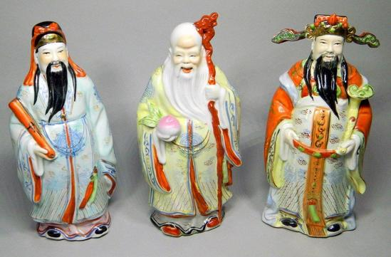 Three Chinese Fu Lu Shou Porcelain Figures