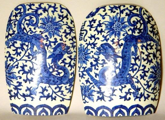 Two Blue and White Porcelain Decor with Dragon Motif