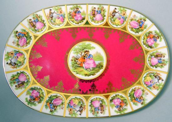 Tirschenreuth 1838 Hutschenreuther Gruppe Germany Oval Love Story Pastoral Plate