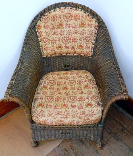 Antique Wicker Cushioned Chair