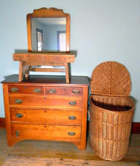 Grouping of Dresser, Mirror, Small Bench, Tall Lidded Wicker Basket