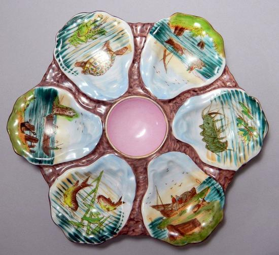 Oyster Plate Painted with Marine Life and Shore, Porcelain, Marked 765