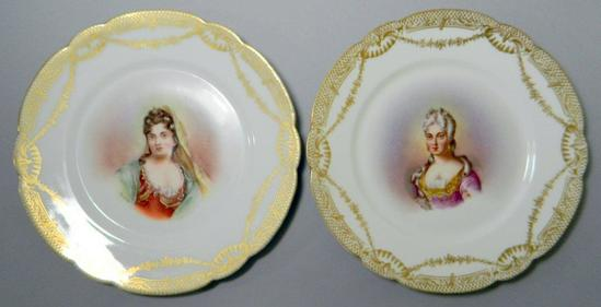 Pair of Limoges LR&L Decorative Plates with Ladies Portraits