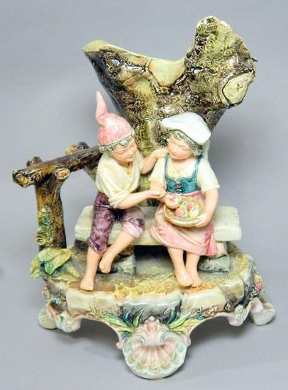 Royal Dux Bohemia Figure, Boy and Girl at Tree
