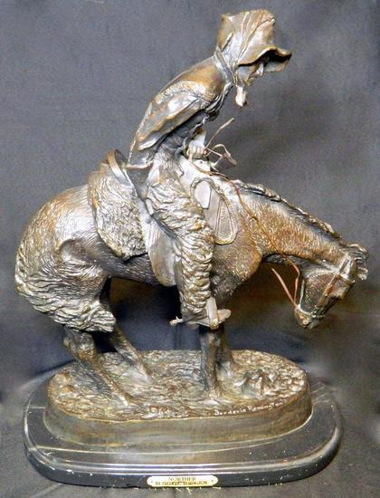 "Frederic Remington ""The Norther"" Statue on Marble Base"